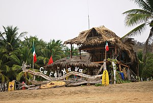 Playa Zipolite - Cafe Maya housed in a palapa