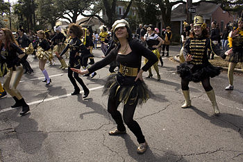 New Orleans Mardi Gras: Dance troupe in daytim...