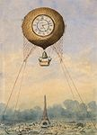 Camille Grávis, Captive balloon with clock face and bell, floating above the Eiffel Tower, Paris, France.jpg
