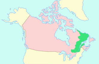 Lower Canada - Map of Lower Canada prior to 1809 (in green) with contemporary Canada (in pink) surrounding it