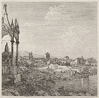 Canaletto, View of a Town with a Bishop's Tomb, c. 1735-1746, NGA 763.jpg
