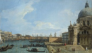 Venice: The Grand Canal with Santa Maria della Salute towards the Riva degli Schiavoni