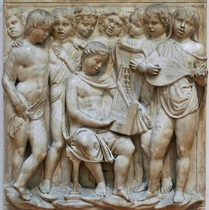 Psalm 150 - Children singing and playing music, illustration of Psalm 150 (Laudate Dominum).