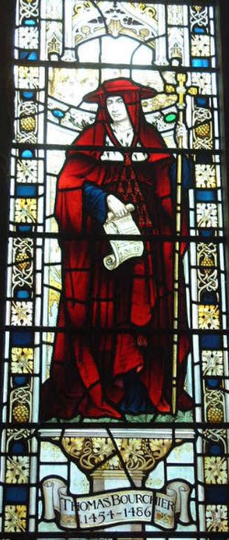 Thomas Bourchier (cardinal) - 1909 stained glass depiction in Sevenoaks Church, Kent, of Thomas Bourchier, wearing a cardinal's hat. His residence of Knole House, which he built, was situated opposite the church