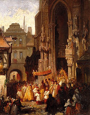 Corpus Christi (feast) - Corpus Christi procession. Oil on canvas by Carl Emil Doepler