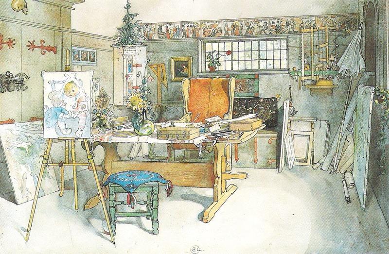 File: Carl Larsson - Ateljén, ena hälften - Ett hem - 1899.tif