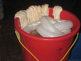 Sausage casing - Casing from beef (in bucket) and sheep (on rear edge of bucket)