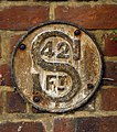Cast iron sewer (^) depth indicator plaque, Baldock - geograph.org.uk - 2105655.jpg