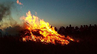 Castle an Dinas, St Columb Major - Tansys Golowan – Midsummer's eve bonfire held annually at Castle an Dinas.