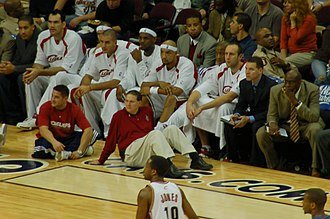 Scot Pollard - Pollard (farthest left in white jacket) played in the Cleveland Cavaliers for the 2006–2007 season.