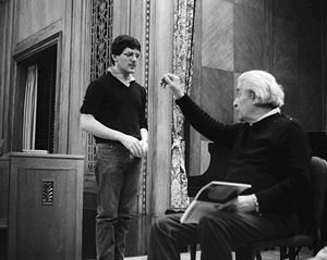 Sergiu Celibidache - Sergiu Celibidache giving a conducting lesson at the Curtis Institute in 1984 to student David Bernard