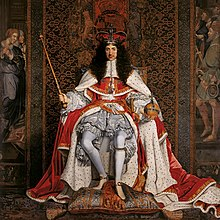 Charles II wearing a crown and ermine-lined cape