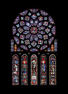 Stained glass decorative window composed of pieces of coloured glass