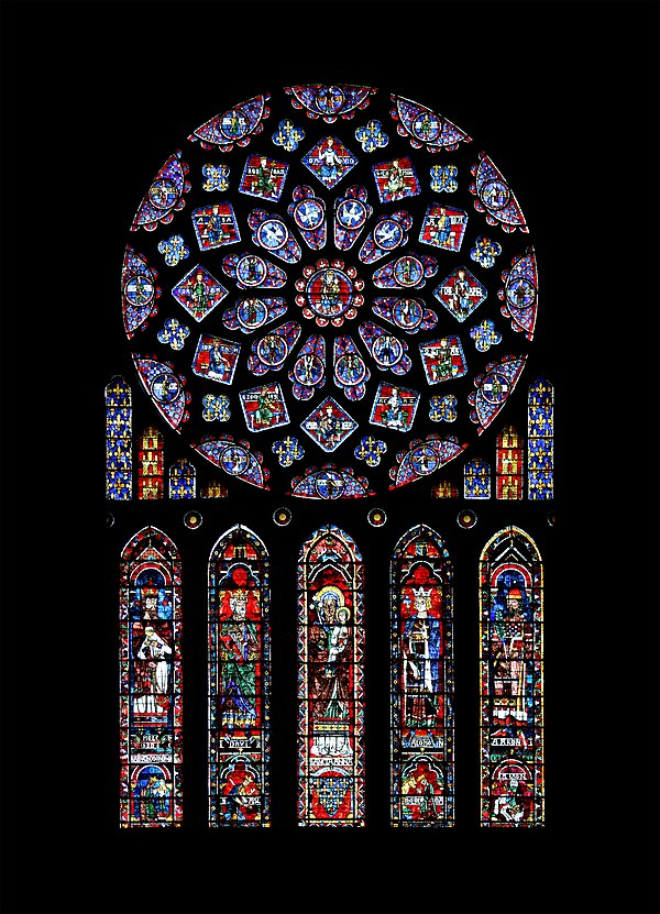The north rose window of the Chartres Cathedral (Chartres, France), donated by Blanche of Castile. It represents the Virgin Mary as Queen of Heaven, surrounded by Biblical kings and prophets. Below is St Anne, mother of the Virgin, with four righteous leaders. The window includes the arms of France and Castile Chartres - cathedrale - rosace nord.jpg