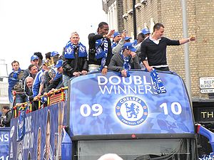 26ca63d3e Chelsea FC parade through the streets of Fulham and Chelsea after winning  their league and cup double, May 2010