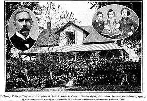 "Young People's Society of Christian Endeavour - ""Cherry Cottage"", Aylmer birthplace and family home of Rev. Francis Edward Clark D.D., LL.D 1851-1927. To the right, his mother, brother and himself aged 3. In the foreground, delegates to Christian Endeavor Convention, Ottawa, 1896. Constructed in 1862, the house is listed in the Register of Cultural Heritage of Quebec"