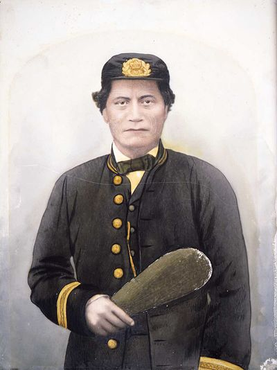 Chief Rawiri Puaha of Ngati Toa who fought alongside Colonial forces at the Battle of Battle Hill. Chief Rawiri Puaha in European dress.jpg