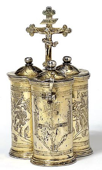 Chrismarium - Chrismatory for ritual oil from Germany, 1636 (silver-gilt, Victoria and Albert Museum, London).