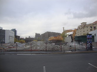 Christchurch Convention Centre - Christchurch Convention Centre after demolition in April 2012, with the Town Hall visible in the background