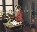 Christian Aigens - Interiør med en pige læsende ved vinduet.png