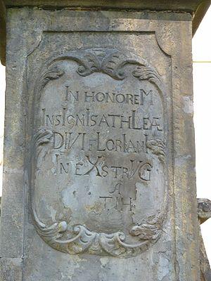 Chronogram - Chronogram at statue near church in Dolany (Czech Republic). In honoreM  InsIgnIs athLetae  DIVI fLorIanI  IneXstrVCta 1729