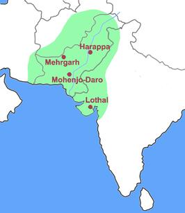 Gebied van de Indusbeschaving met de belangrijkste steden