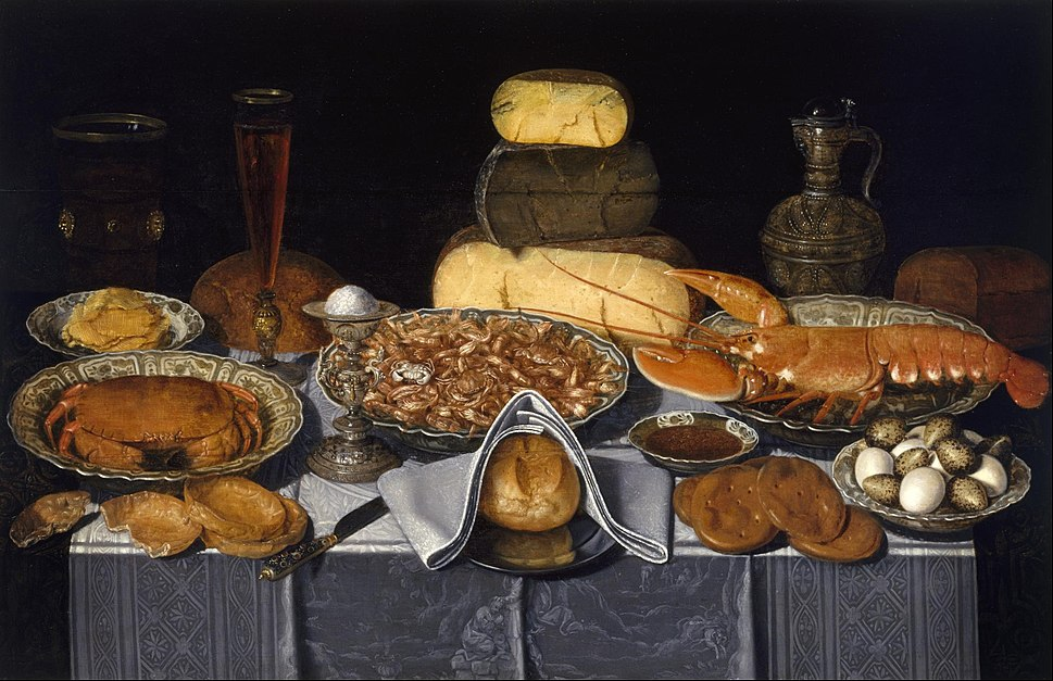 Clara Peeters - Still Life with Crab, Shrimps and Lobster - Google Art Project