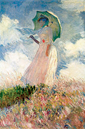 painting Claude Monet of woman with parasol facing left in field from the Musée d'Orsay