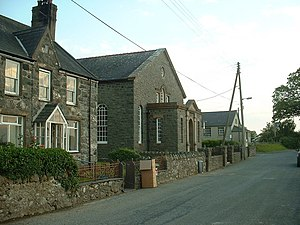 Clynnog fawr, Cottage, Chapel and Village Hall - geograph.org.uk - 191720.jpg