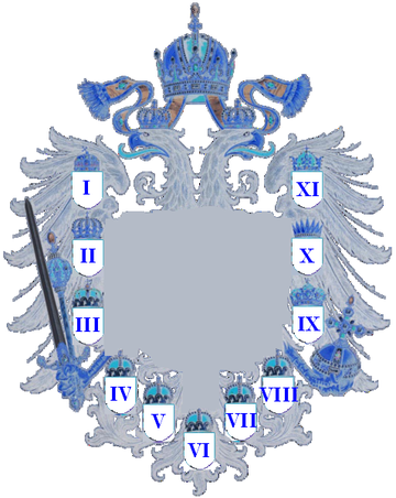 Coat of arms of Austria-Hungary with numbers 1867-1915