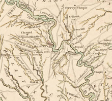 An excerpt from John Collet's 1770 map showing the Roanoke River running Northwest to Southeast, with Halifax depicted as a large settlement on the river at the center of the map.