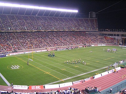 Edmonton's Commonwealth Stadium, in 2005. A Canadian Football League venue. Commonwealth Stadium, Edmonton, August 2005.jpg