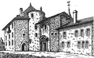 Compesières Commandry - Drawing of the castle in 1840