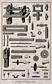Components of the machinery used in pewter manufacture. Etch Wellcome V0023624EL.jpg