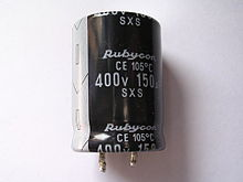 A typical electrolytic capacitor