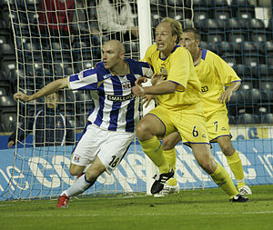 Conor Sammon - Sammon (left) in action for Kilmarnock against Morton in August 2009.