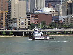 Consol Energy - Boat operated by Consol Energy passing downtown Pittsburgh, PA.