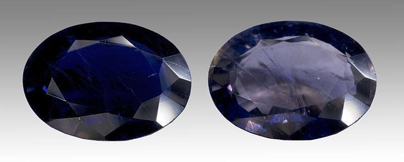 Cut iolite, demonstrating its pleochroic characteristics