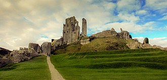 Corfe Castle - Ruins of Corfe Castle from the outer bailey
