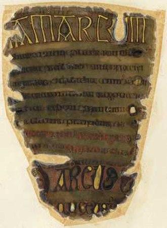 Otho-Corpus Gospels - Image: Cotton Corpus Gospel Frag Fol 25v