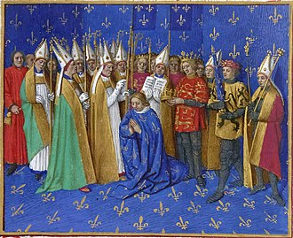 "County of Flanders - Count Philip (2nd from right) as swordbearer at Philip II's coronation. The count of Flanders was one of the 12 ancient Peers or ""equals"" of the King of France. (1455 panel painting by Jean Fouquet)."