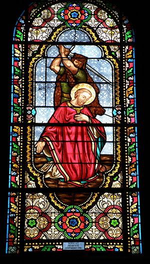 Caprasius of Agen - Stained glass depicting the martyrdom of Saint Caprasius in the Église Saint-Caprais, Craponne-sur-Arzon, France