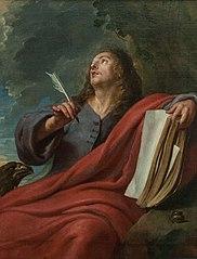 Saint John Evangelist writes his Revelations on the Island of Patmos