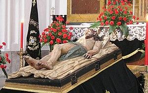 Holy Saturday - Statue of Jesus lying in the tomb by Gregorio Fernández. (Monastery of San Joaquín y Santa Ana, Valladolid)