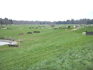 Cross-country equestrianism - A cross-country course. Note start box in upper right corner.