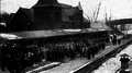 Crowd awaits return of Little Brown Jug at Ann Arbor train station 1920.png