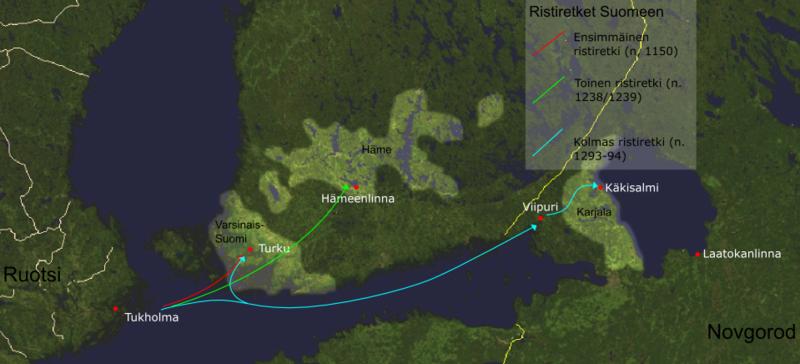 Karta som visar de tre korstågen