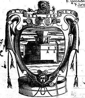 Agnolo Monosini - Device (emblem) of the Accademia della Crusca (Academy of Chaff) depicting a sieve straining out corrupt words and structures (as wheat is separated from chaff)