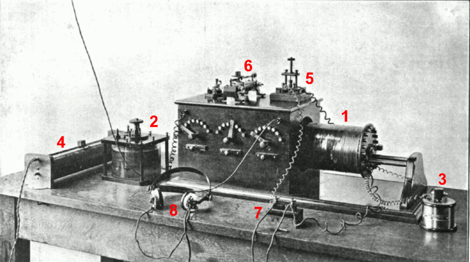 Crystal radio receiver from wireless era