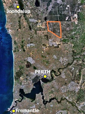Cullacabardee, Western Australia - Location of Cullacabardee (orange) within the northern suburbs of Perth.